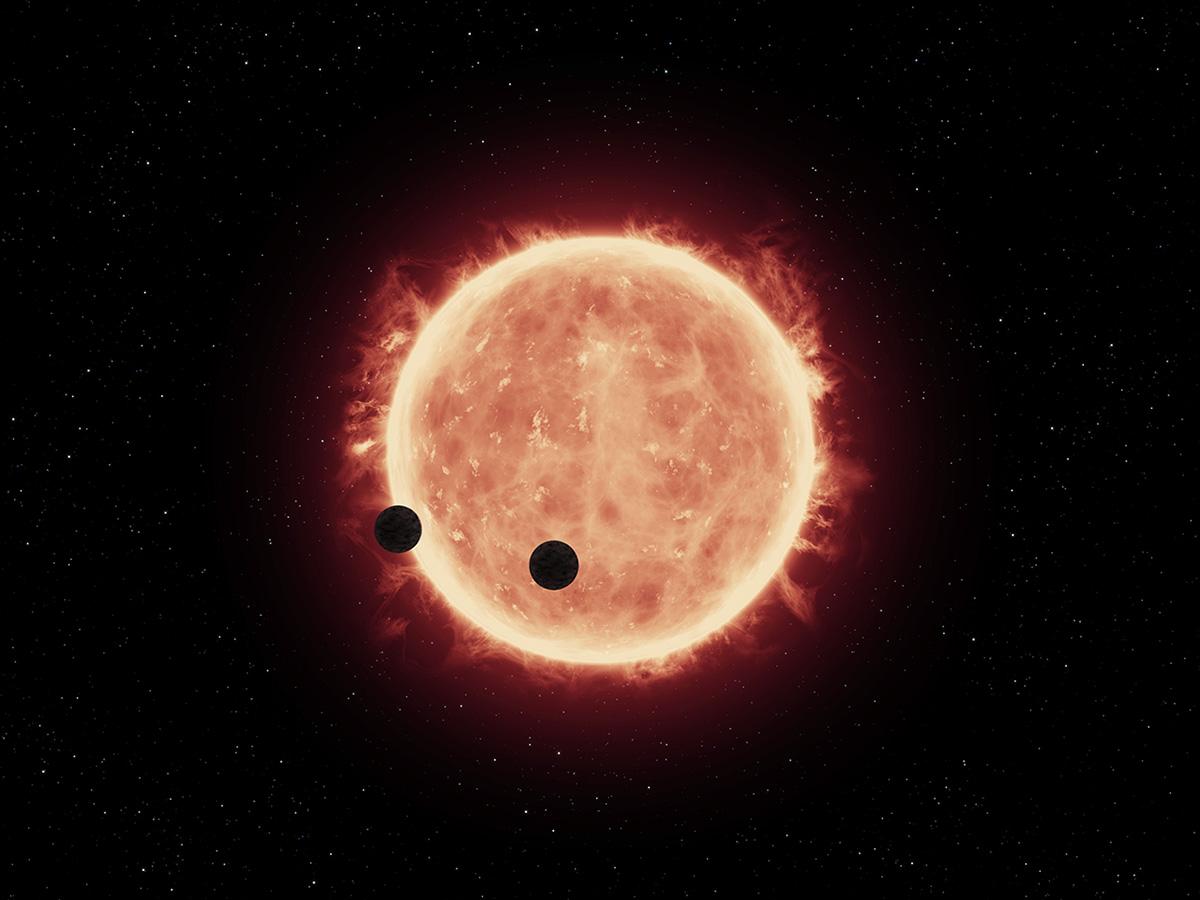 Una rappresentazione artistica di due super-Terre che transitano davanti alla loro stella madre. Crediti: NASA/ESA/STScI/J. de Wit (MIT).