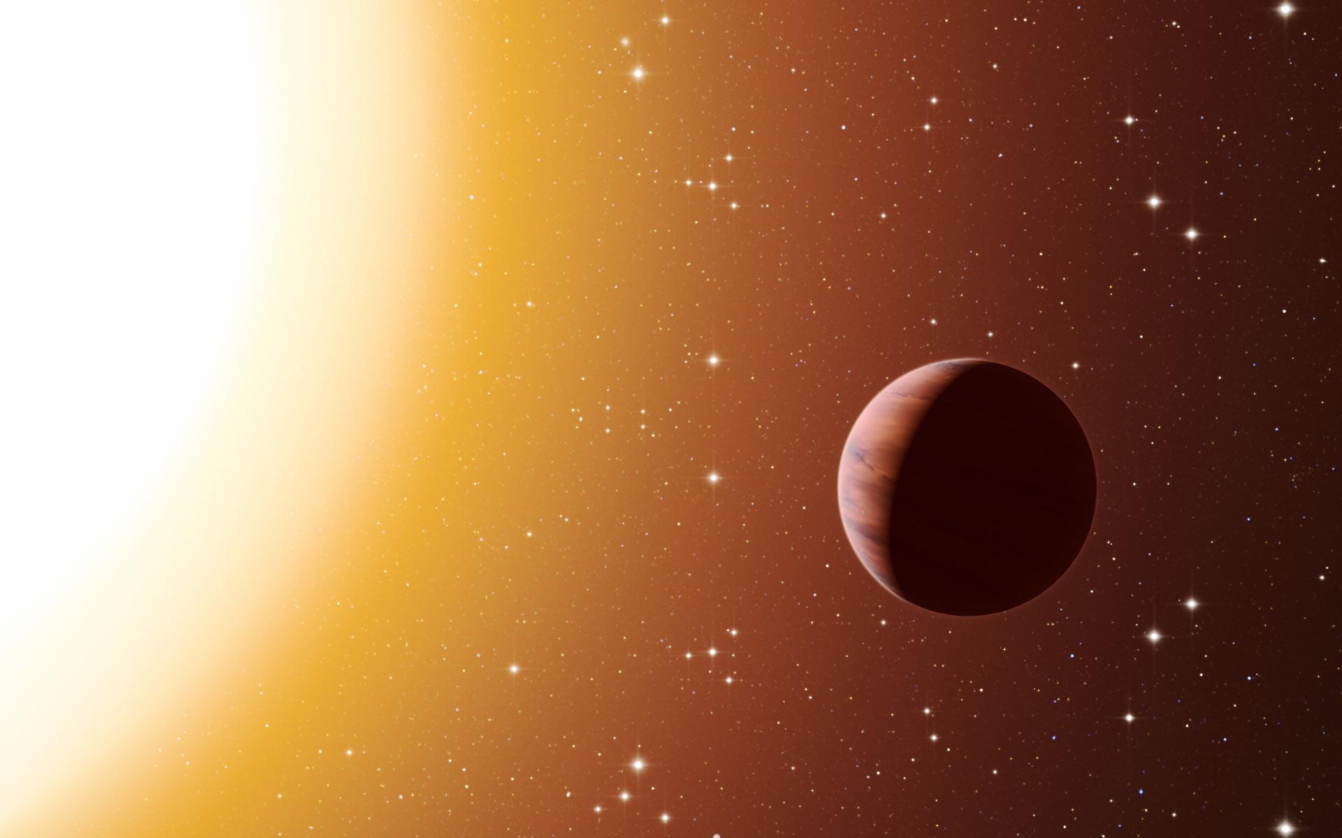 Rappresentazione artistica di un pianeta attorno ad una stella di ammasso. L. Calcada / ESO.