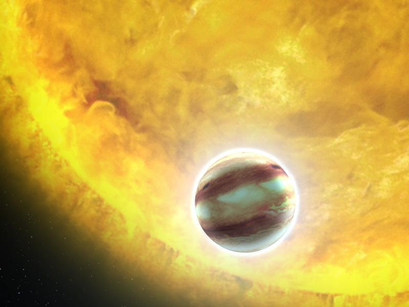 Rappresentazione artistica di un gioivano caldo. si tratta di un pianeta gigante gassoso, dalle dimensioni simili a quelle del nostro Giove, in orbita molto vicino alla sua stella. Credit: NASA, ESA, and G. Bacon (STScI)