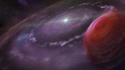 Rappresentazione artistica del sistema planetario HR 8799 in una fase precoce della sua evoluzione, con in primo piano il pianeta HR 8799c, il disco di gas e polveri e i pianeti più interni. Crediti: Dunlap Institute (per Astronomy & Astrophysics), Mediafarm.