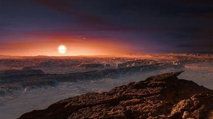 Rappresentazione artistica della superficie di Proxima b e di un ipotetico tramonto su questo pianeta. Crediti: ESO/M. Kornmesser
