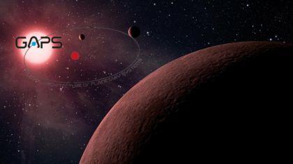 Rappresentazione artistica di un sistema planetario col logo GAPS. Crediti: NASA-JPL/Caltech