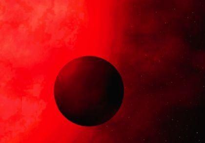 Rappresentazione artistica di un pianeta in orbita attorno a una stella gigante rossa.
